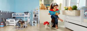 Zwei Kinder spielen in einem Kinderzimmer