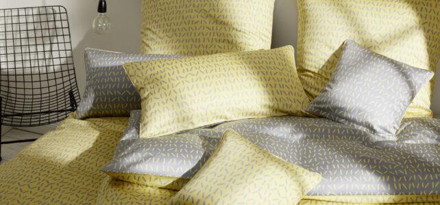 """Bettwäsche mit Wendemotiv in den Farben gelb/grau von Elegante """"Milieu"""""""